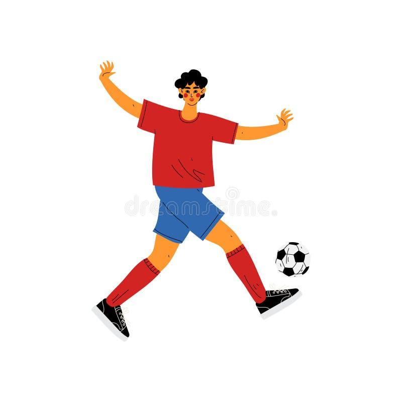 踢足球,在体育一致跑与球,活跃健康生活方式的男性专业运动员字符的人 库存例证