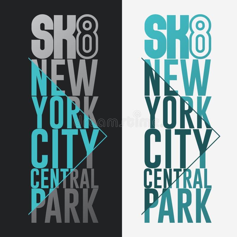 踩滑板的印刷品纽约T恤杉图形设计 向量例证