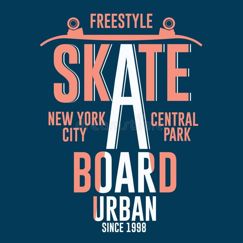 踩滑板的纽约T恤杉图形设计 向量例证