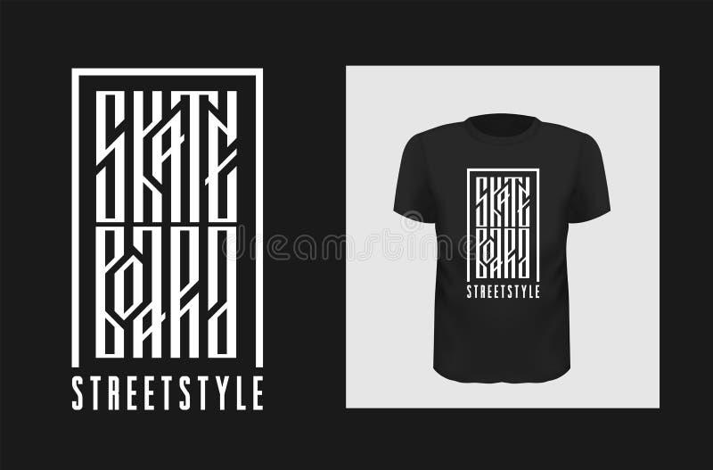 踩滑板的T恤杉印刷品传染媒介设计 创造性说假装黑的服装的  斯拉夫的地道题字 向量例证
