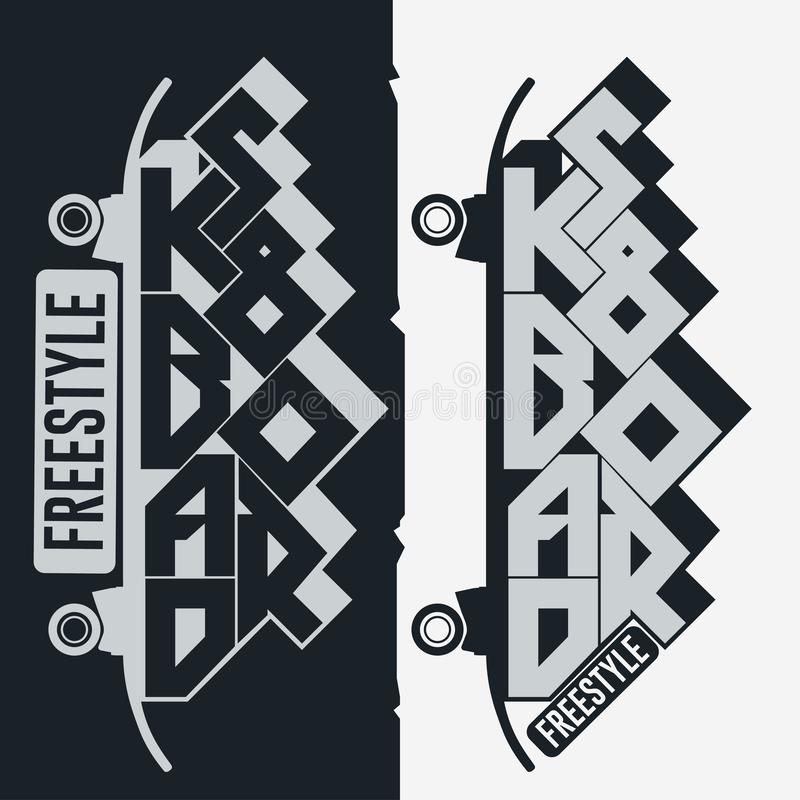踩滑板的T恤杉,印刷术印刷品象征图形设计 库存例证