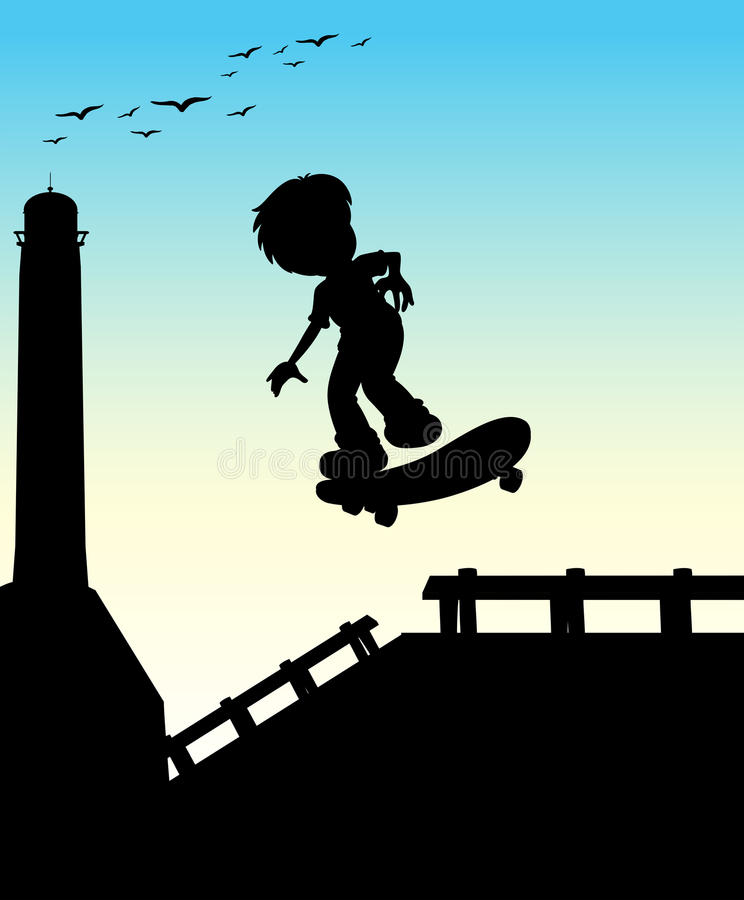 踩滑板在街道上的剪影男孩 向量例证