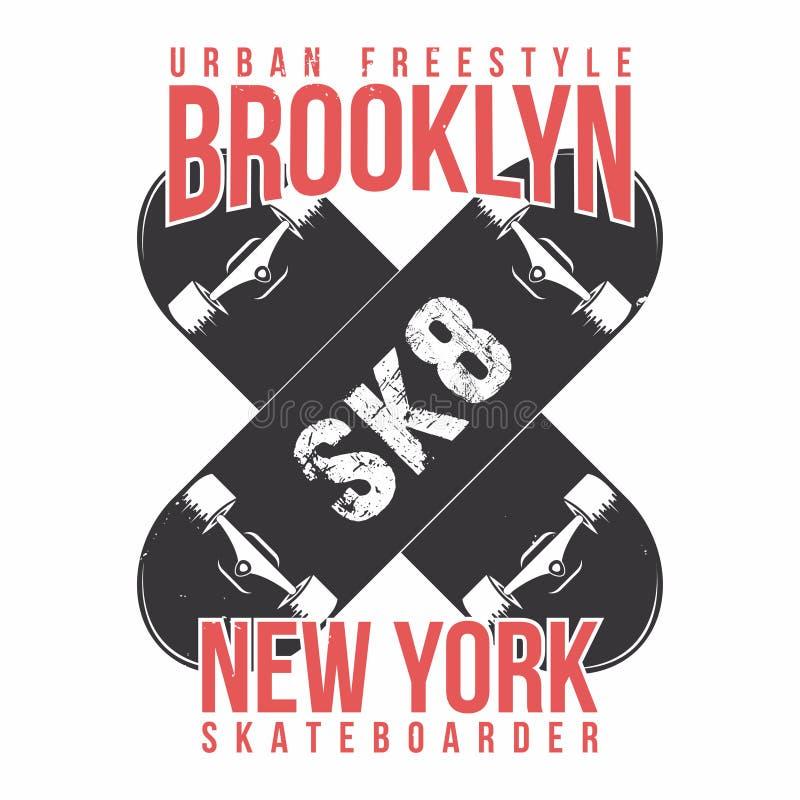 踩滑板的T恤杉图表 都市滑冰,纽约 葡萄酒发球区域图表 向量例证