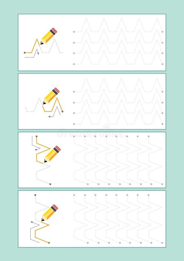 踪迹航线为幼儿园导航或幼儿园和特别教育 开发的fineÂ运动技巧的踪迹航线 向量例证