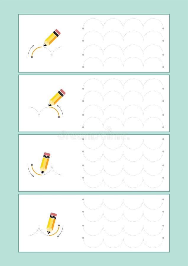 踪迹航线为幼儿园导航或幼儿园和特别教育 开发的fineÂ运动技巧的踪迹航线 库存例证