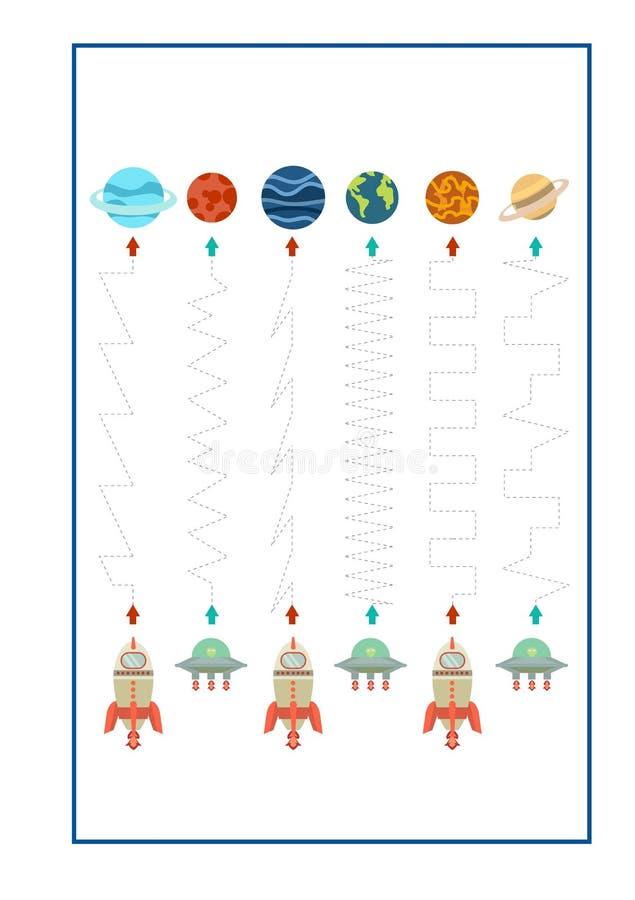 踪迹航线幼儿园的比赛传染媒介或幼儿园和特别教育 开发的fineÂ运动技巧的踪迹航线 向量例证
