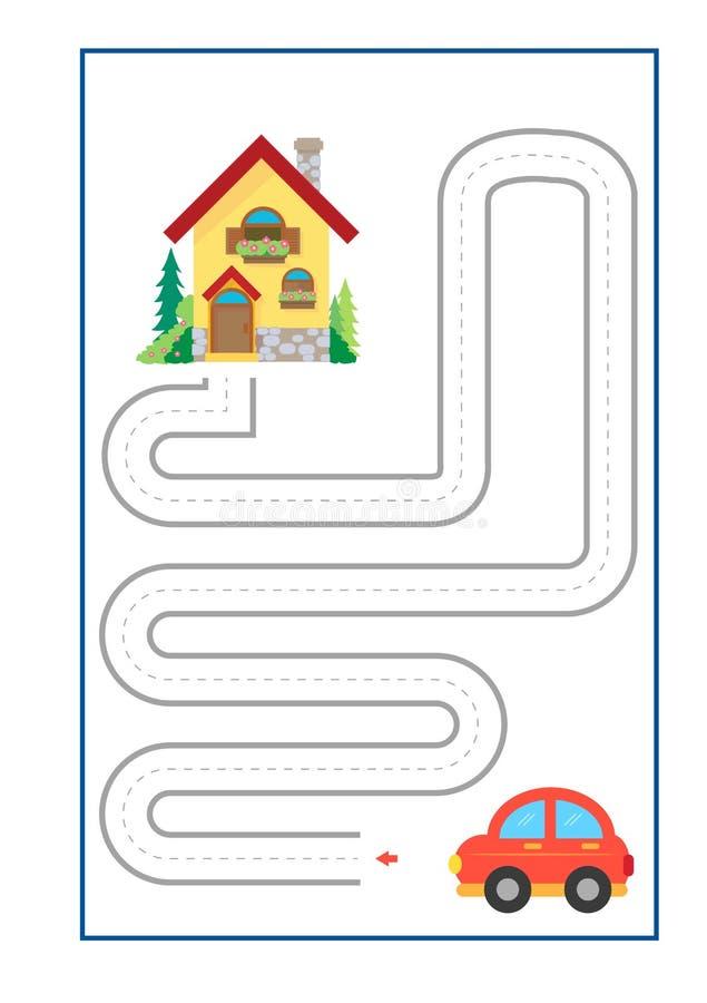 踪迹航线幼儿园的比赛传染媒介或幼儿园和特别教育 开发的fineÂ运动技巧的踪迹航线 库存例证