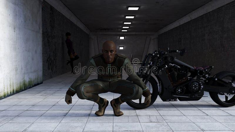 蹲下在有妇女的一辆黑摩托车前面的一个人的例证在一个黑暗的隧道入口的背景中 库存例证