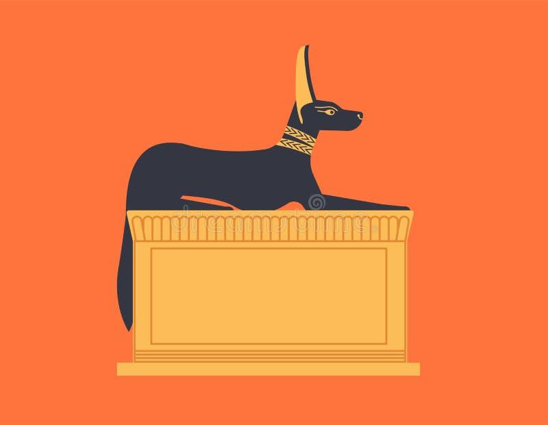 蹲下或阿努比斯靠着雕象描述了作为狼或狐狼-神、神或者神话生物 传奇 库存例证