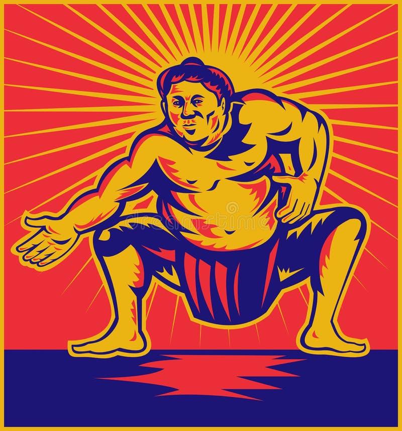 蹲下的前sumo摔跤手 皇族释放例证