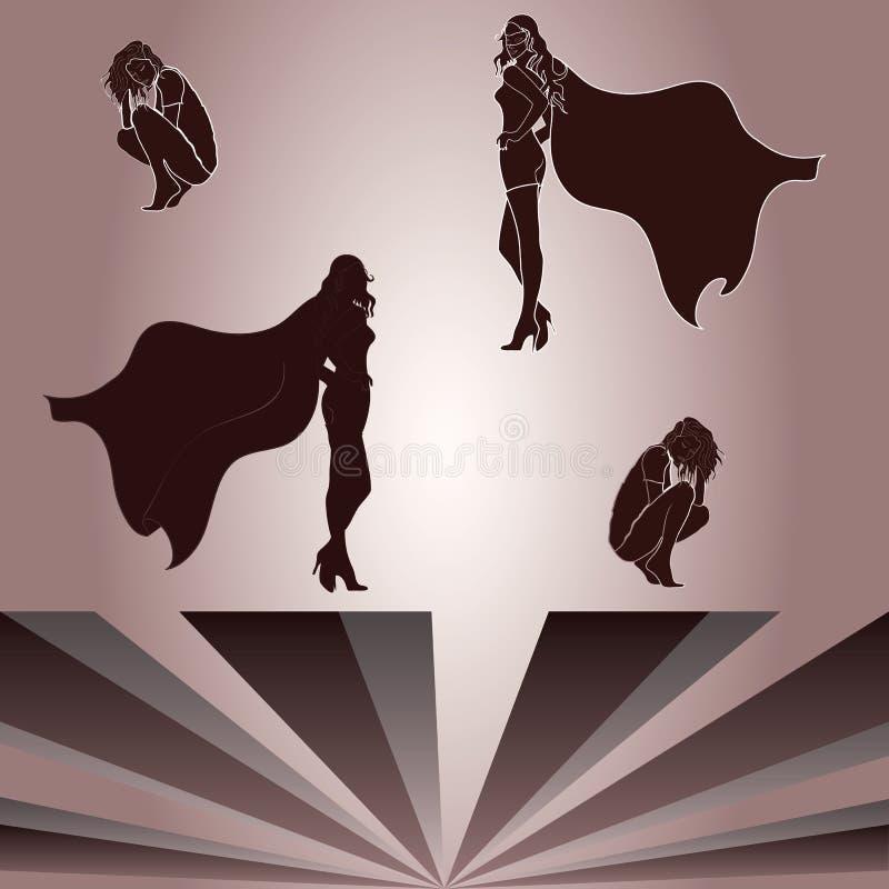 蹲下的妇女和superheroine的阴影的元素 库存例证