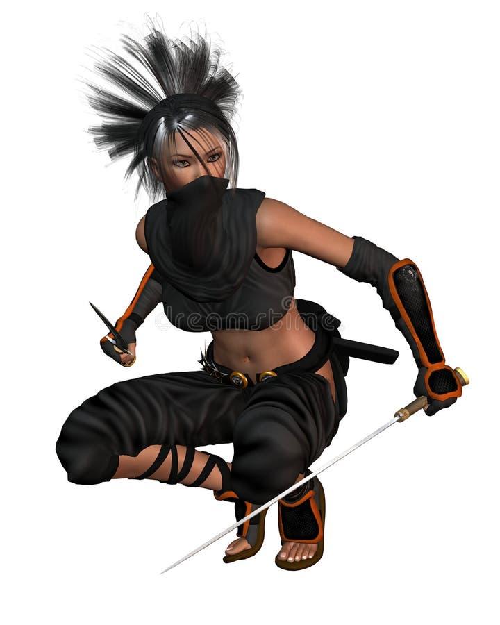 蹲下的幻想女性ninja 皇族释放例证