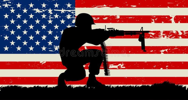 蹲下的战士例证和美国难看的东西旗子 向量例证