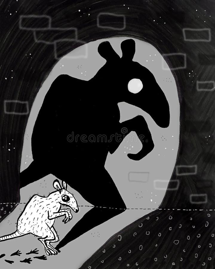 蹲下的鼠和她的阴影和它的踪影 库存例证