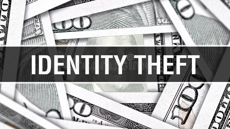 身份窃取特写镜头概念 美国美元现金金钱, 3D翻译 在美元钞票的身份窃取 财政美国金钱b 向量例证