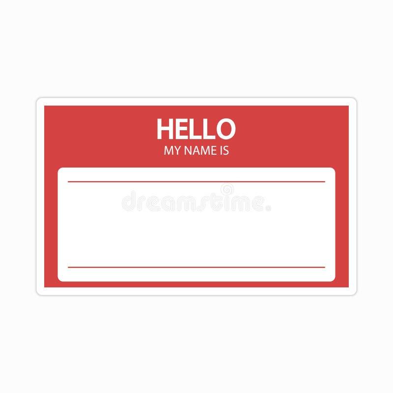 身份证模板  名牌空白贴纸 平的标签'你好,我的名字是' 皇族释放例证