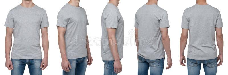 身体视图五人在一件灰色T恤杉 库存照片