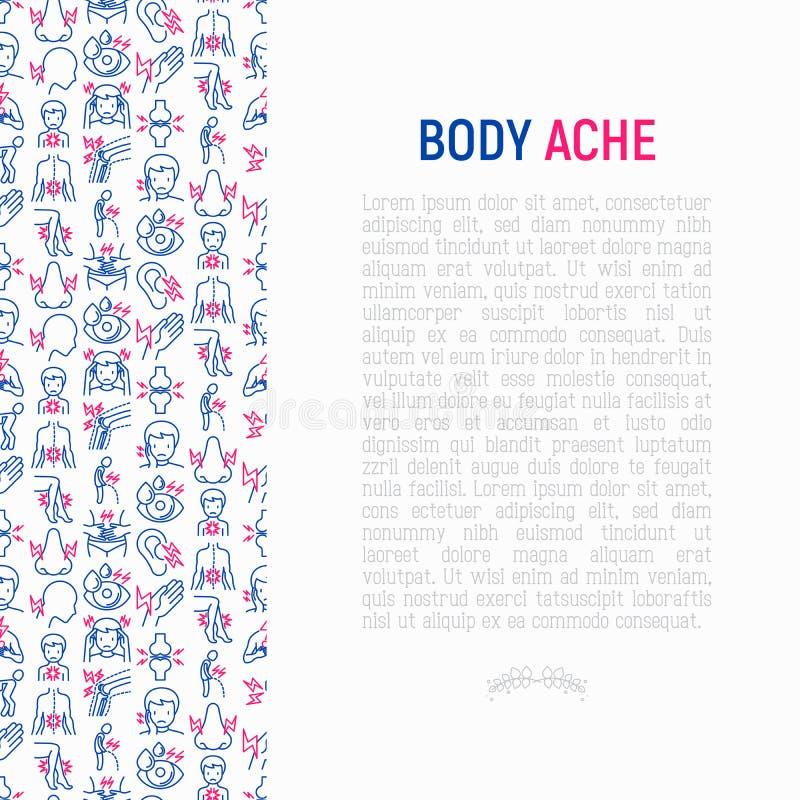 身体酸疼与稀薄的线象的概念 库存例证