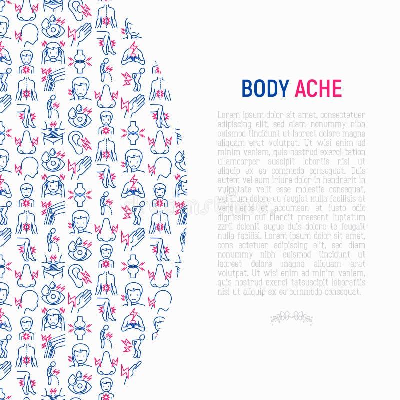 身体酸疼与稀薄的线象的概念 向量例证
