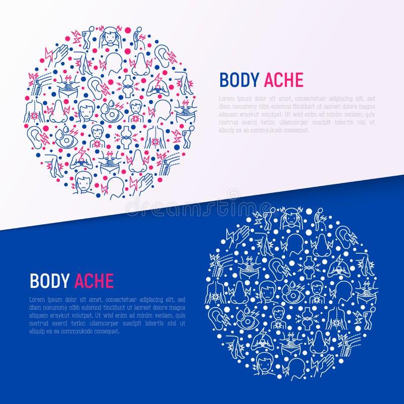 身体酸疼在圈子的概念与稀薄的线象 库存例证