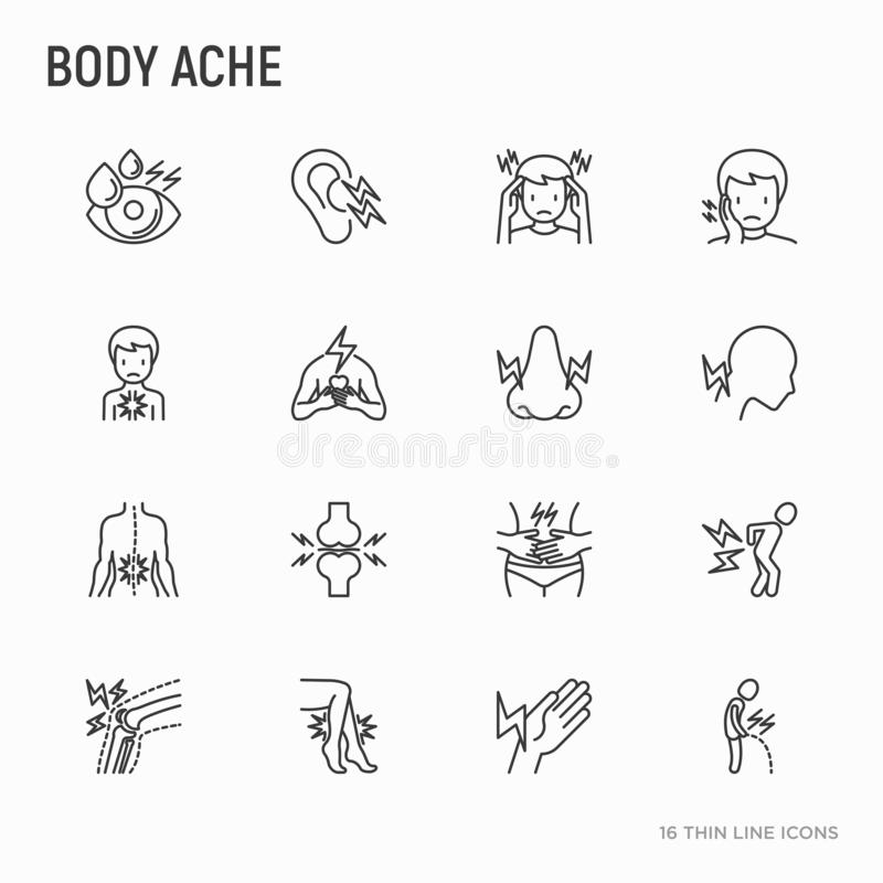 身体酸疼稀薄的线象集合:偏头痛,牙痛,在眼睛的痛苦 库存例证