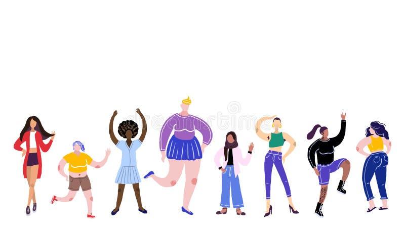 身体阳概念 所有身体是好身体 r 不同的种族和体质的妇女 皇族释放例证