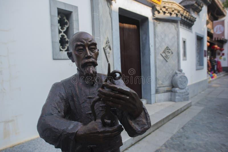 身体雕塑在kuizi镇  免版税库存图片