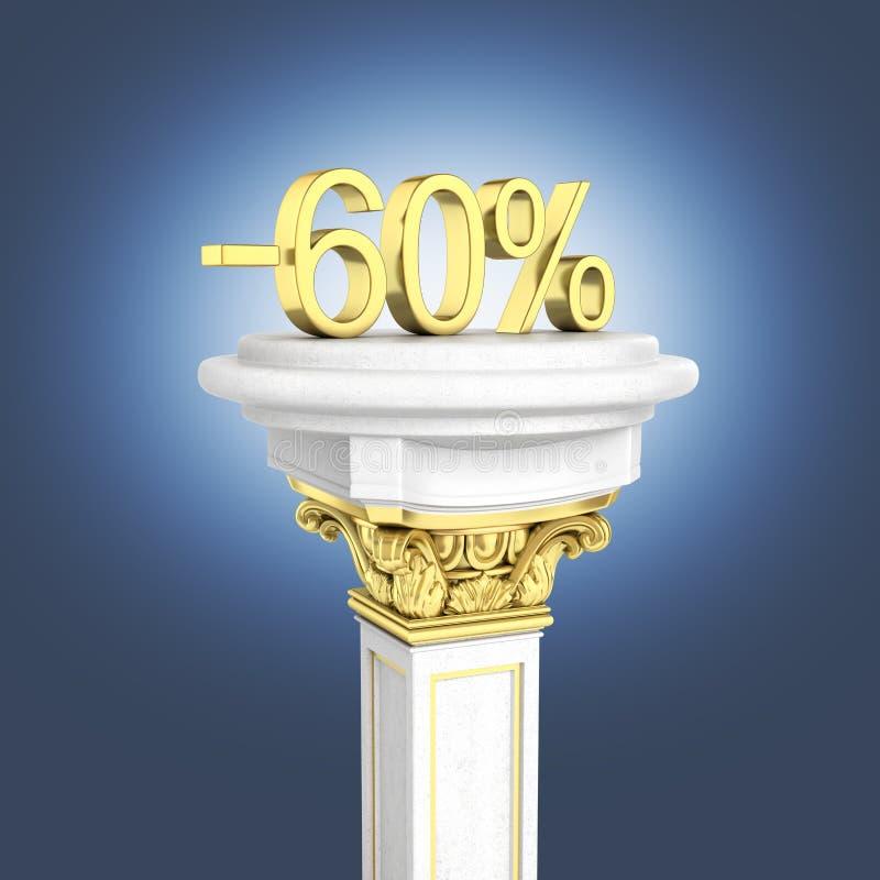 身分的金文本60%在深蓝梯度背景3D的垫座回报 向量例证