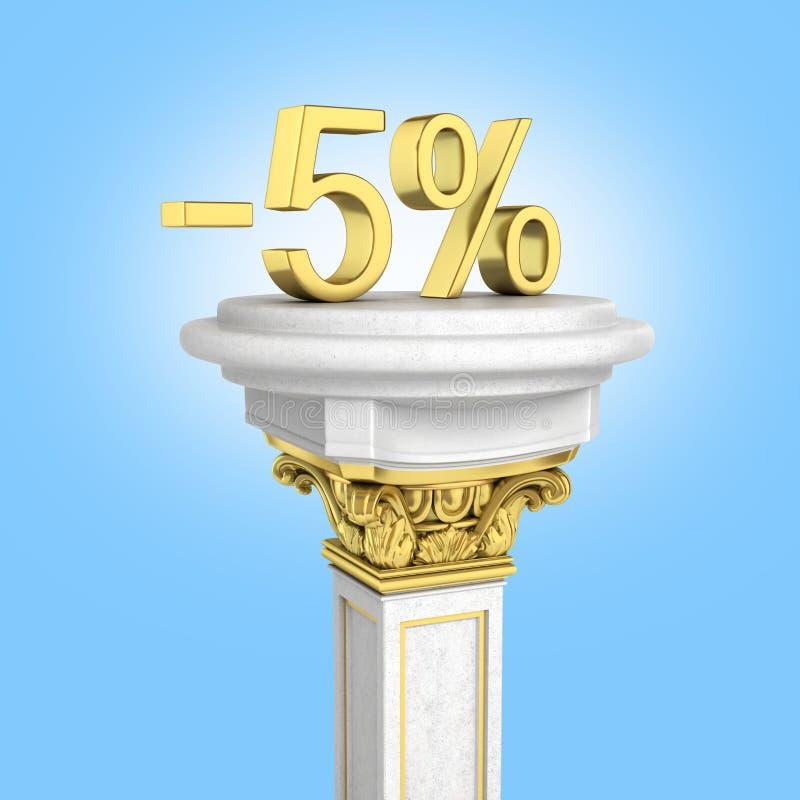 身分的金文本5%在蓝色梯度背景隔绝的垫座3D回报 库存例证