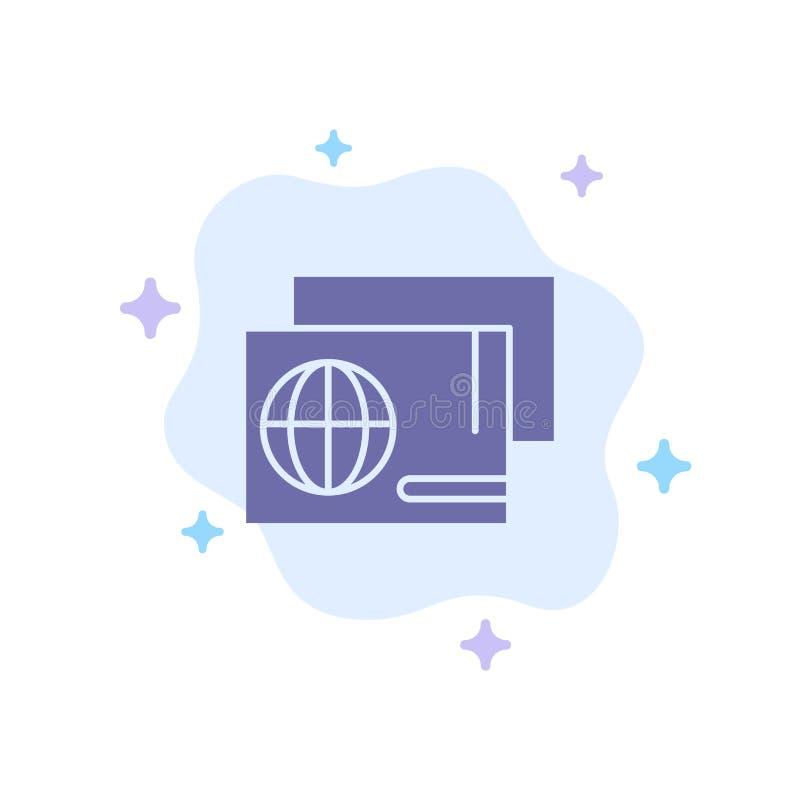 身分,通行证,护照,在抽象云彩背景的购物蓝色象 向量例证