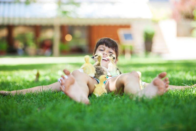 躺下在草和使用用春天鸭子的女孩 库存图片