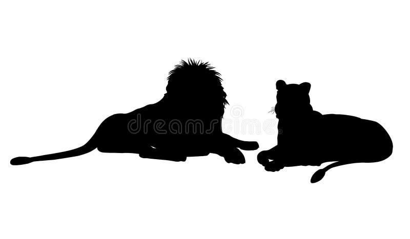 躺下配对的狮子 向量例证