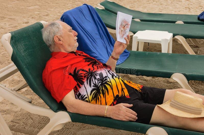 躺椅的前辈 免版税库存图片
