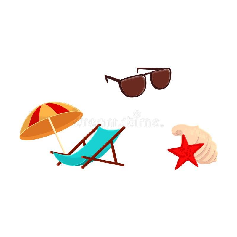 躺椅,沙滩伞,太阳镜,壳 库存例证