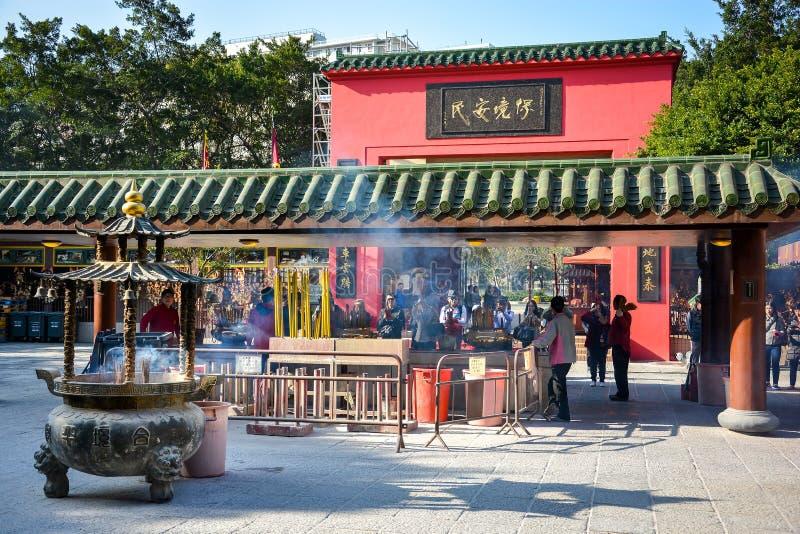 车公Kung寺庙在香港,中国 库存图片