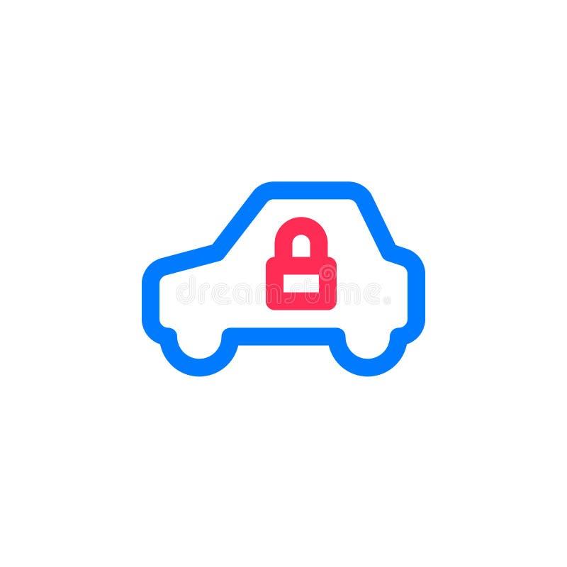 车和锁简单的线象,被填装的概述传染媒介标志,在白色隔绝的线性五颜六色的图表 向量例证