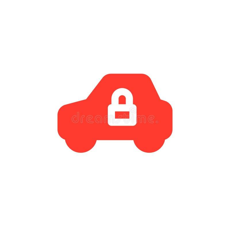 车和锁简单的象导航,被填装的平的标志,在白色隔绝的坚实五颜六色的图表 库存例证