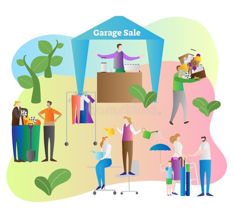 车库售物传染媒介例证 商店和商店在房子围场物产组织卖老和使用的项目、事和家庭 向量例证