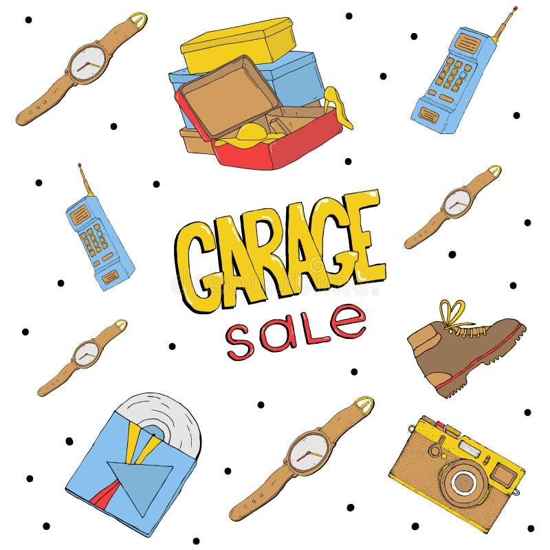 车库售物手拉的无缝的样式 照相机,小配件,电话, 库存例证