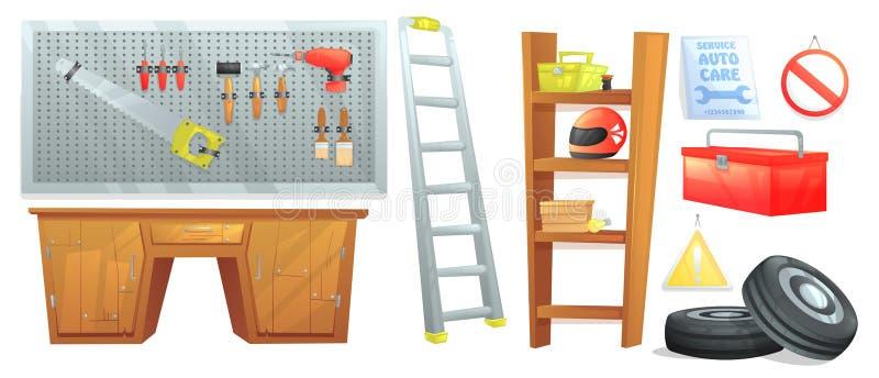 车库技工的家具 自动汽车标志和架子与摩托车盔甲和一个委员会有工具的 皇族释放例证