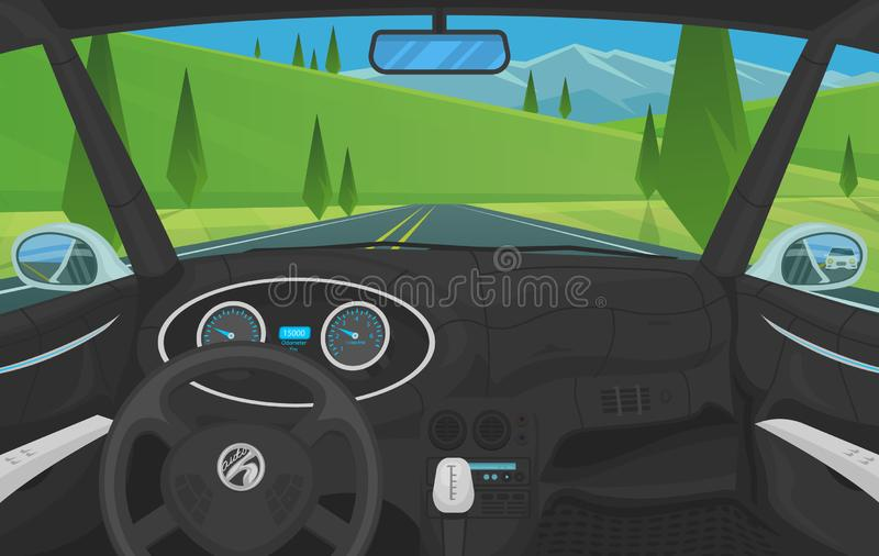 车沙龙,司机视图 在一辆巧妙的汽车的仪表板控制 实际控制或自动被驾驶的模仿 在a的交通 皇族释放例证