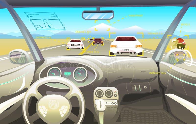 车沙龙,司机视图 在一辆巧妙的汽车的仪表板控制 实际控制或自动被驾驶的模仿 在a的交通 向量例证