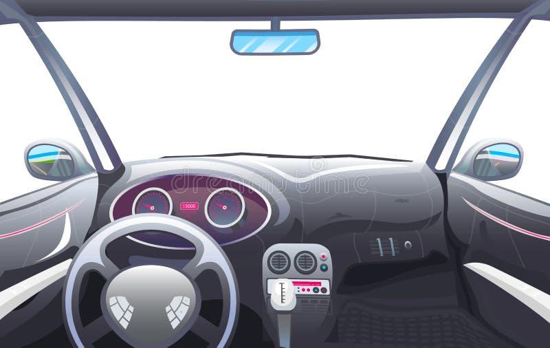 车沙龙,司机视图 在一辆巧妙的汽车的仪表板控制 实际控制或自动被驾驶的模仿 自治 向量例证
