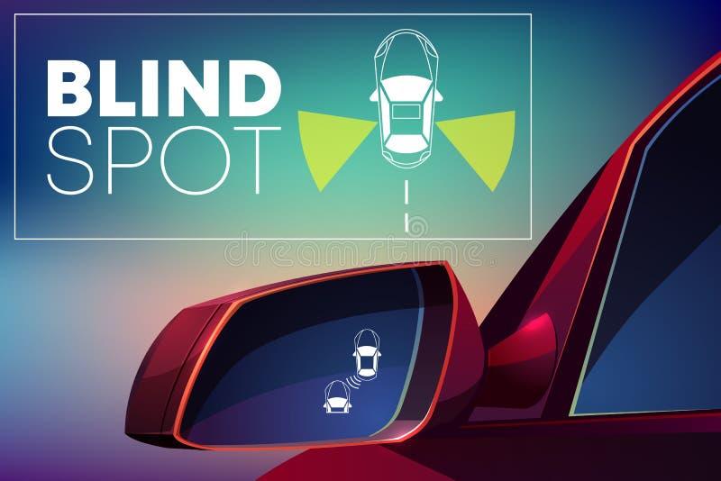 车盲点显示器协助动画片传染媒介 库存例证