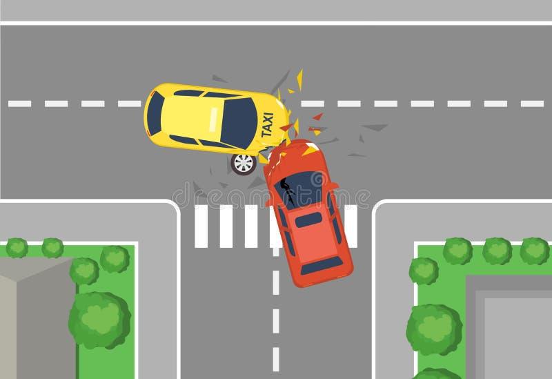 车祸公路事故,顶视图的传染媒介例证 平的动画片样式车祸概念,黄色和红色汽车 库存例证