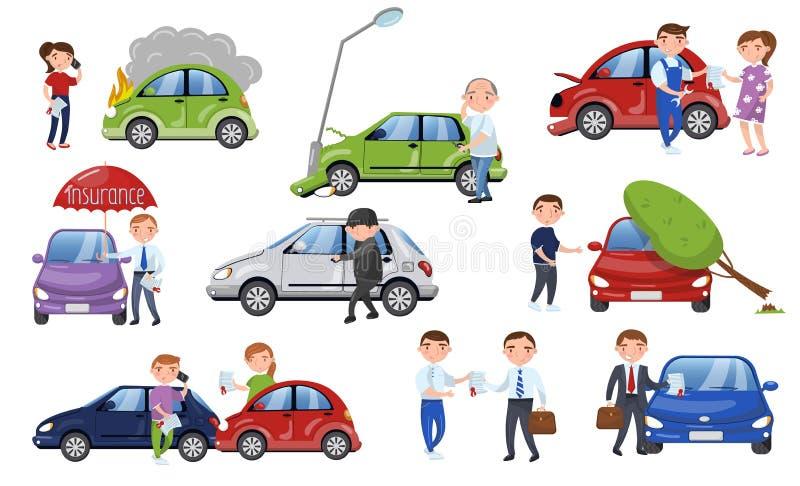 车祸和事故集合,汽车保险动画片传染媒介例证 库存例证