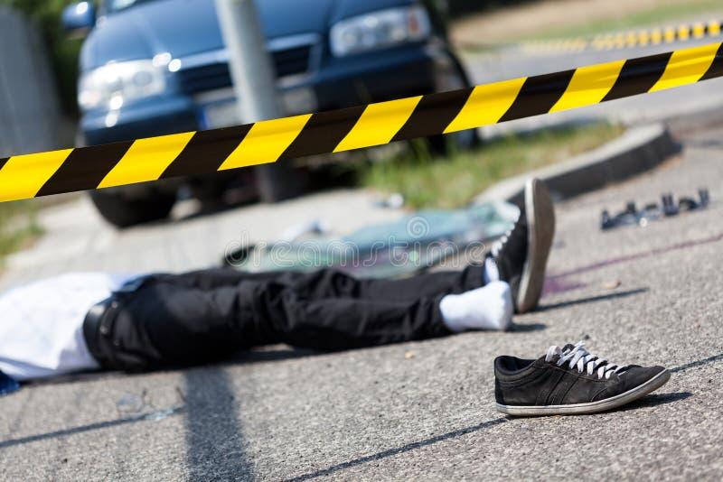 车祸的男性受害者 免版税库存照片