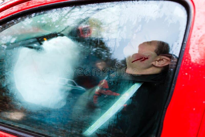 车祸-一辆被碰撞的车的受害者 库存图片