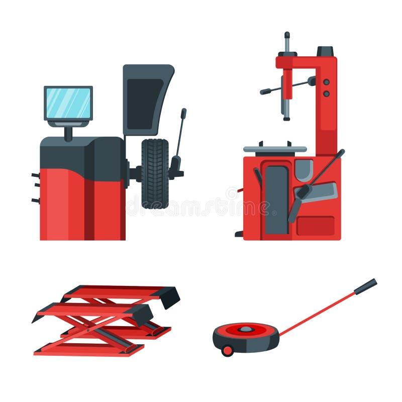 车胎平衡的和适合的设备 汽车起重器被隔绝的传染媒介例证 库存例证