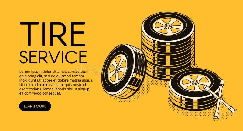 车胎汽车自动服务传染媒介例证 向量例证